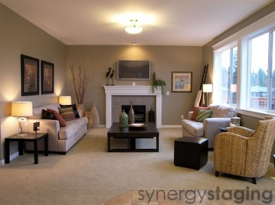 Family Room staged by Synergy Staging in Happy Valley