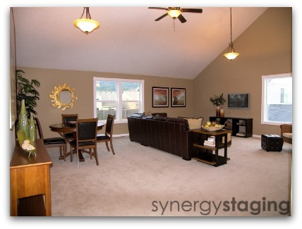 Family Room staged by Synergy Staging in Newberg