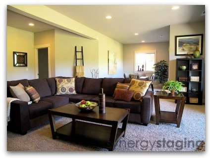 Family Room staged by Synergy Staging in West Linn