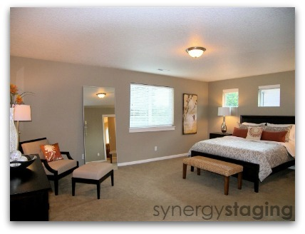 Bedroom staged by Synergy Staging in Clackamas