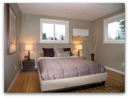 Bedroom staged by Synergy Staging