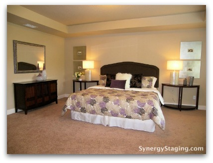 Bedroom staged by Synergy Staging in Tigard
