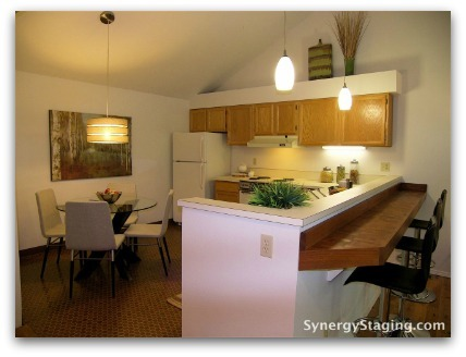 John's Landing - Kitchen staged by Synergy Staging