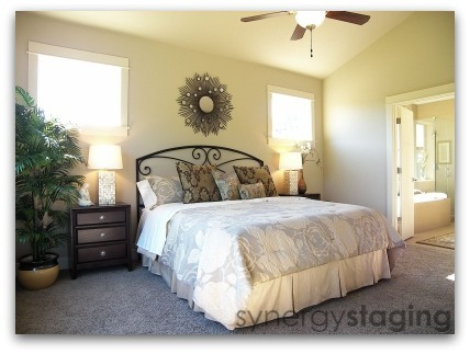 Bedroom staged by Synergy Staging in West Linn